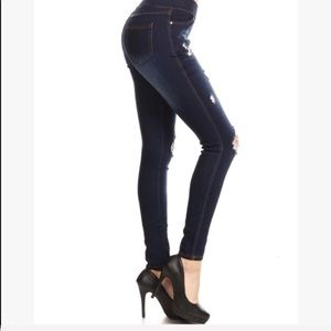 Evolving Always Jeans - High Waisted Elastic Jeans Distressed